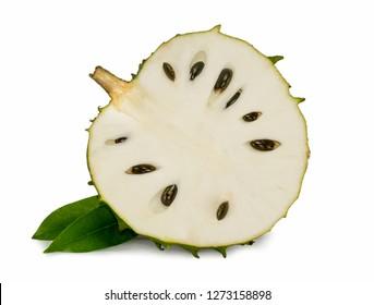 Fresh soursop isolated on white background