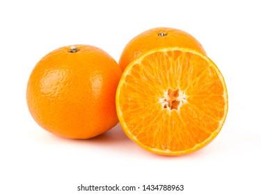 Fresh South Africa mandarin orange isolated on white background.