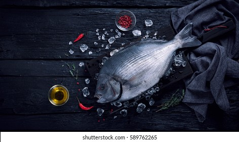 Fresh spanish bream fish (sargo) on ice on a black wooden table top view
