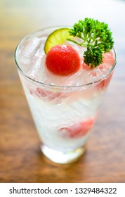 fresh sparkling lemon juice with water melon