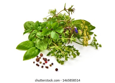 Fresh spices and herbs, basil, marjoram, sage, parsley, isolated on white background.