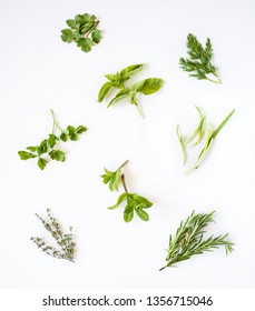 Fresh spicy herbs isolated on white background