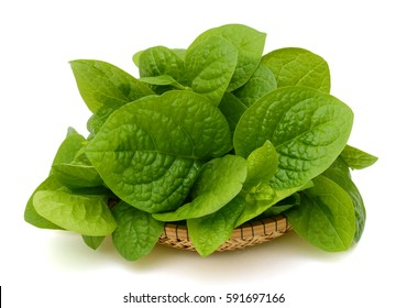 Fresh spinach leaves on basket, on white background
