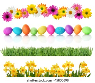 Fresh spring and Easter borders isolated on white. Eggs, daisies, daffodils, and green grass.