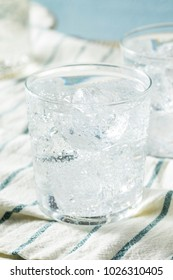 Fresh Spring Sparkling Water with Ice in a Glass