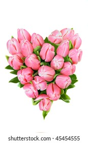 fresh spring tulips in a shape of heart isolated on white background