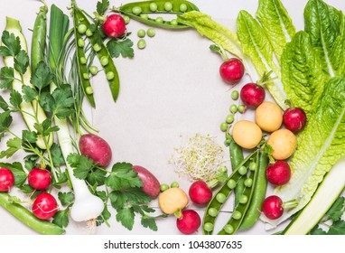 Fresh spring vegetables background copy space.Healthy clean eating, dieting, organic vegetables concept.