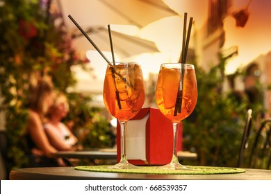 Fresh Spritz in traditional and typic Trastevere district in Rome, Italy