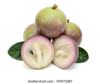 Fresh star apple fruit isolated on white background