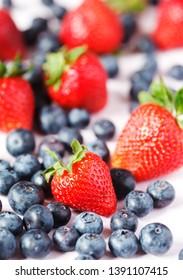 Fresh strawberries and blueberries. Summer healthy dessert