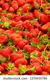 Fresh strawberries in the central market of Canakkale, Turkey