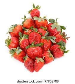 Fresh Strawberries closeup over white background