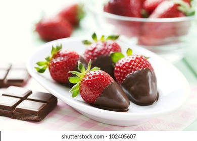 fresh strawberries dipped in dark chocolate