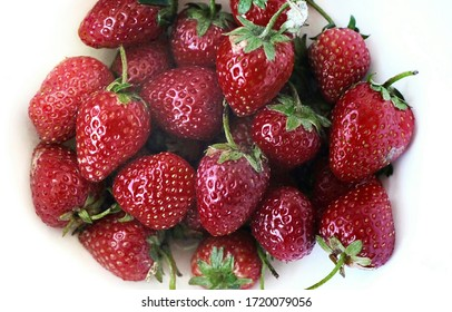 Fresh strawberries from garden, Isolated on white background.