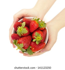 Fresh strawberries in hands isolated white background