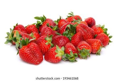 Fresh strawberries, isolated on white