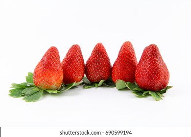 Fresh Strawberries isolated on white background. Copy Space concept