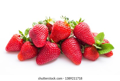 Fresh strawberries on the white background