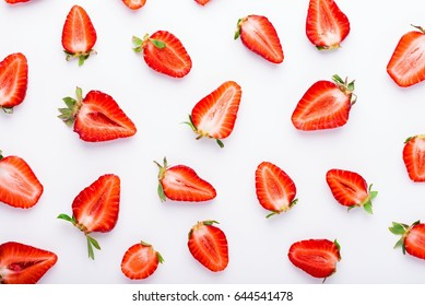 Fresh strawberries pattern, top view