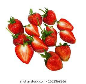 Fresh strawberries And sliced strawberries With green stalks and leaves as raw materials for making beverages, cakes or desserts isolated on a white background with clipping path