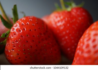fresh strawberry and blank space on wooden table for healthy concept background