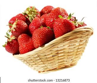 Fresh strawberry fruit group in plant basket