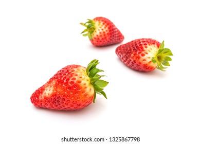 Fresh strawberry fruit isolated on white background