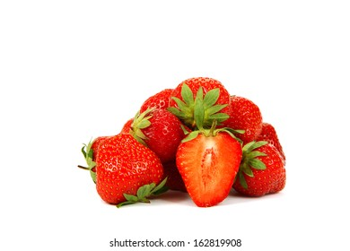 Fresh strawberry fruit isolated on a white background.