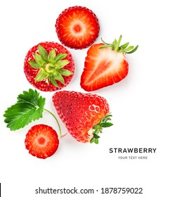 Fresh strawberry fruits and leaves composition and creative layout isolated on white background. Healthy eating and food concept. Spring fruit and berry arrangement. Top view, flat lay, copy space