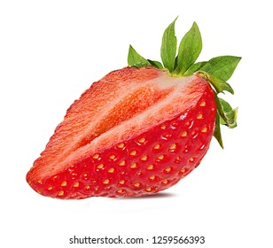 Fresh strawberry half isolated on white background with clipping path
