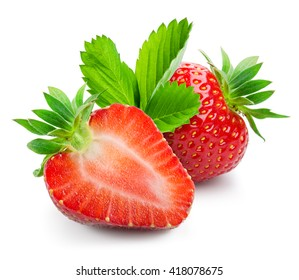 Fresh strawberry and a half isolated on white background.
