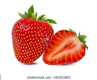 Fresh strawberry isolated on white background with clipping path