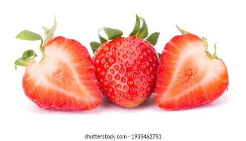 Fresh Strawberry isolated on white background closeup. Label for Strawberry Jam or Refreshing Summer Strawberry Mohito (Mojito) Cocktail