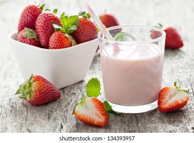 fresh strawberry milk in a glass
