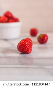 Fresh strawberry on marble table