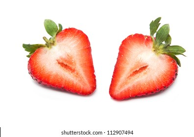 Fresh strawberry  slice on a white background