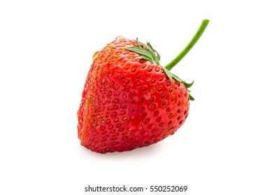 fresh strawberry with water drop on white background