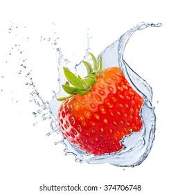 Fresh Strawberry With Water Splash