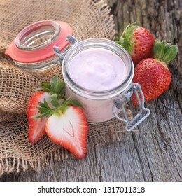 Fresh strawberry yoghurt in a glass