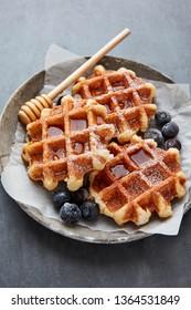 Fresh sugar waffles with castor sugar