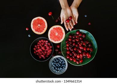 Fresh summer cherries, blueberries