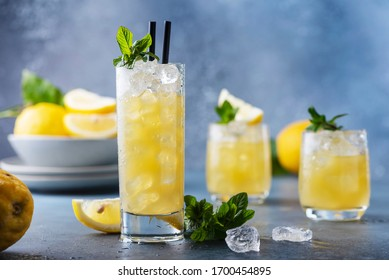 Fresh summer cocktail with lemons, mint and ice, selective focus image