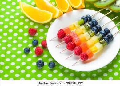 Fresh summer fruits on sticks