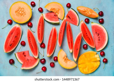 Fresh summer fruits. Fruits slices, watermelon and melon , mango. Summer fruits concepts.