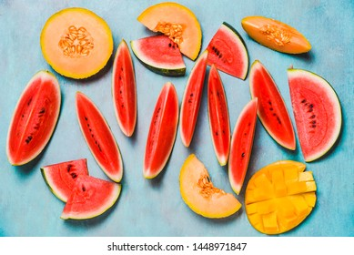 Fresh summer fruits.Fruits slices, watermelon and melon , mango.