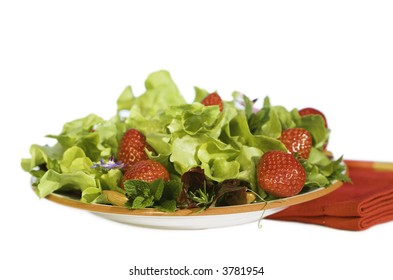 Fresh Summer Green Salad With Strawberries ~ Red Napkin ~ Isolated On White ~ Close up