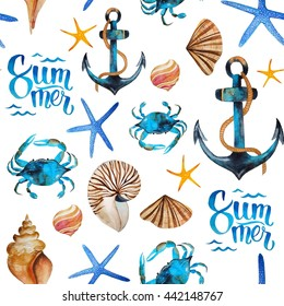 Fresh summer nautical watercolor pattern with anchors, shells, crabs, seastars and letterings
