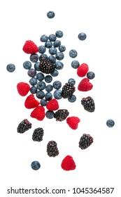 fresh, summer, ripe, bright berries isolated on white