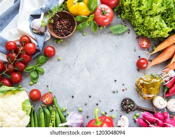 Fresh summer vegetables on a concrete background