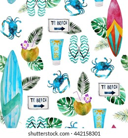 Fresh summer watercolor beach and surfing pattern